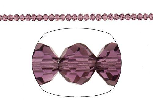 Crystal bead, 32-facet round cut, Amethyst, 3mm