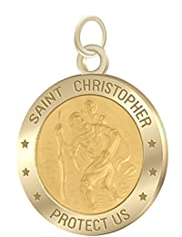 7/8in Solid 14k Yellow Gold St Saint Christopher Pendant Charm Necklace