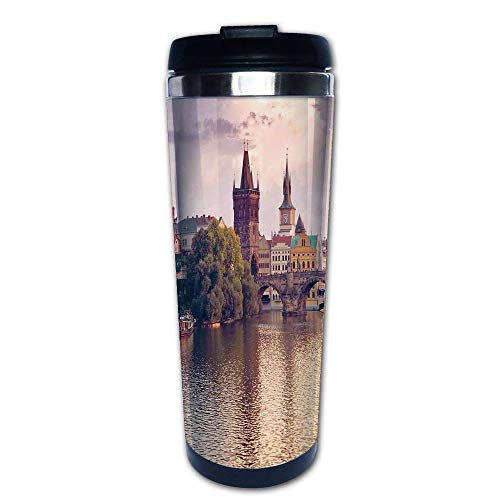 Stainless Steel Insulated Coffee Travel Mug,Bridge Spires of Prague Central Europe Gothic,Spill Proof Flip Lid Insulated Coffee cup Keeps Hot or Cold 13.6oz(400 ml) Customizable -
