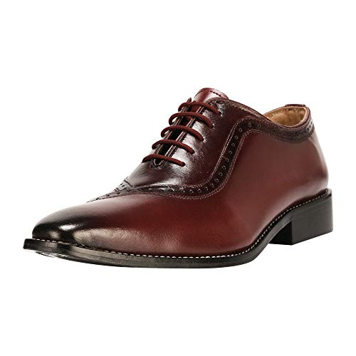 Liberty Men's Handmade Leather Oxford Lace Up Burnished Toe Dress Shoes Burgundy