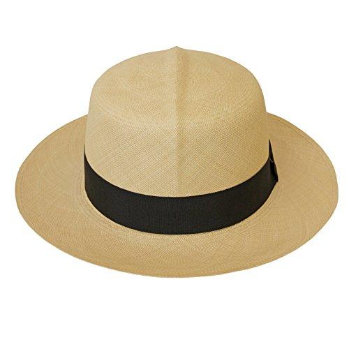 Tumia - Fino Colonial/Folder Style Panama - Premium Quality - Natural with Black Band. 60cm. by Tumia Panama Hats