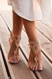 Champagne Barefoot Sandals, Nude shoes, Foot jewelry, Lace shoes, Yoga Anklet, Neutral barefoot sandals, Bridal party, Bridesmaid gifts