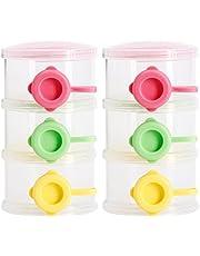 Widesmart 2 Stuks Melkpoeder Dispenser,Baby Melk Poeder Doos,Formule Dispenser Draagbaar,Babymelkpoederformule-Dispenser,3 Lagen Baby Voeding Formule Opbergpot voor Thuis Reizen Outdoor Baby Voeding