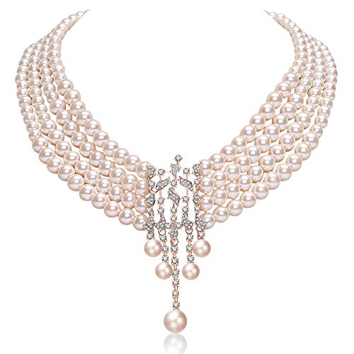 Bridal Rose Pearl - Coucoland Audrey Hepburn Inspired Pearl Necklace Inspired by Breakfast at Tiffany's 1920s Gatsby Imitation Pearls Necklace with Crystal Brooch Bridal Pearl Jewelry Sets (Rose Gold 6)