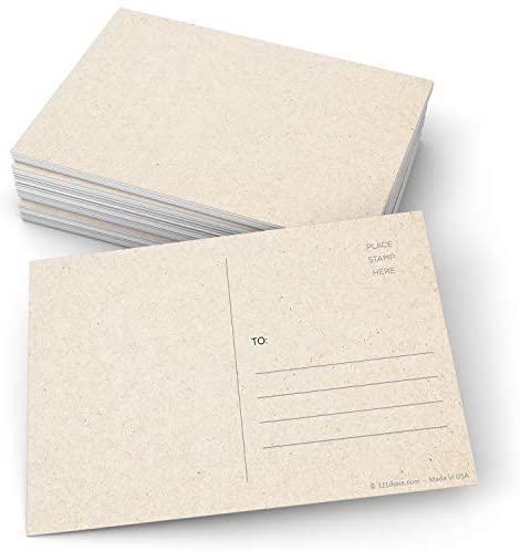 """321Done Blank Kraft-Colored Postcards (Set of 50) 4"""" x 6"""" with Mailing Side, Plain Tan Card Stock, Create Your Own for Kids - Made in USA, Large"""