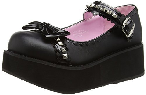 Demonia SPR04_BVL-S-PT-9 2.25 in. Platform Mary Jane Boot, Black, Size 9 by Demonia