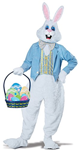 California Costumes Men's Deluxe Easter Bunny, White/Blue, Small/Medium (Rabbit Costumes For Adults)