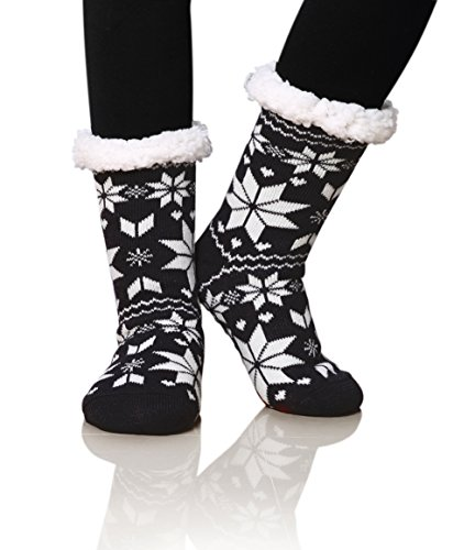 Dosoni Women's Fleece Lining Fuzzy Soft Christmas Knee Highs Stockings Slipper Socks (Snowflake Dark Black) ()