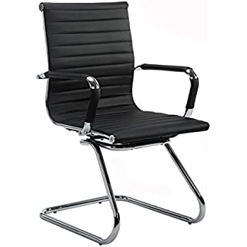 wahson ribbed leather office guest chair with arms quality plating sled base black