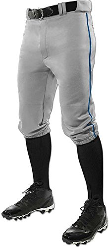 Star Youth Baseball Pants - CHAMPRO Youth Triple Crown Braided Knicker Baseball Pant Medium Grey/Royal Pipe
