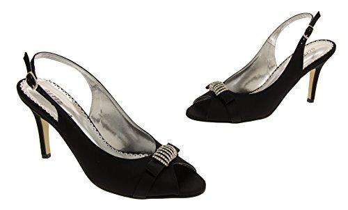 Occasions Mujer Glitz Negro Satén Zapatos wF4d8Yq