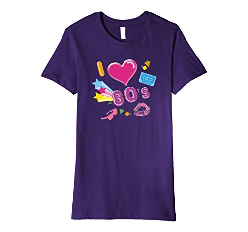 80s Female Pop Stars Costumes (Womens I Love the 80s Eighties - Retro Costume Pop Rave Party Shirt XL Purple)