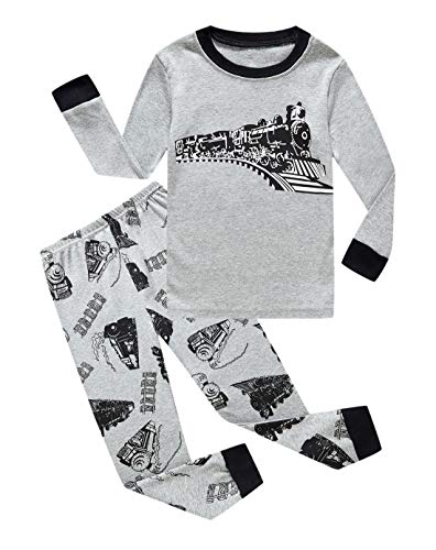 Family Feeling Train Little Boys Long Sleeve Pajama Sets for Child 100% Cotton Sleepwears Toddler Kids Pajamas Boys Size 3 -