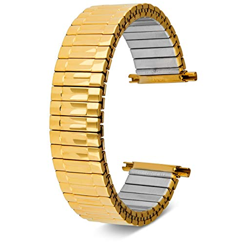 (16-22mm, Men's Stretch Watch Band, Flex Radial Expansion Replacement Strap,Straight End,Expandable Ends, (Gold))