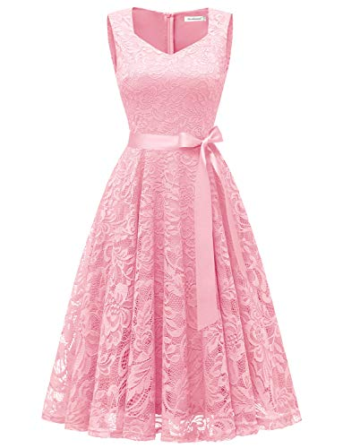 Beautiful Special Occasion Dress - Gardenwed Elegant Floral Lace Bridesmaid Dresses Sleeveless V Neck Formal Dresses Cocktail Dresses for Women Pink XL
