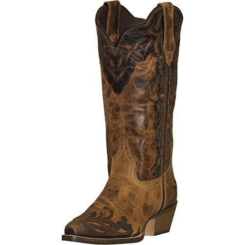 Abilene Women's Rawhide by Boot Two-Tone Wingtip Cowgirl Snip Toe Tan 8 M US ()