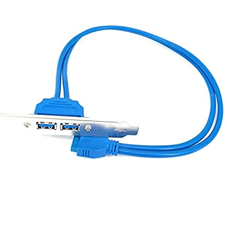 Computer Cables USB 3.0 Back Panel Expansion Bracket to 20-Pin Header Cable A7 - 2-Port Cable Length: 000, Color: Blue