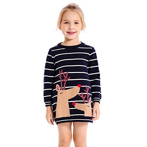 SMILING PINKER Little Girls Christmas Dress Reindeer Snowflake Xmas Gifts Winter Knit Sweater Dresses (4-5T, Navy Blue -