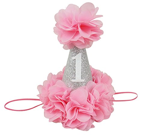 PoshPeanut Beautiful Baby Crown Headband Princess First Birthday Cone Hat Silver Pink Made in the (Cartoon Police Hat)