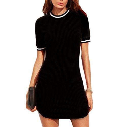 Verano Hilo Atractivo Moda Cadera Del Paquete La Moda Relajado Vestidos Black