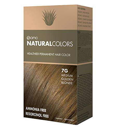 ONC NATURALCOLORS 7G Medium Golden Blonde Healthier Permanent Hair Color Dye 4 fl. oz. (120 mL) with Certified Organic Ingredients, Ammonia-free, Resorcinol-free, Paraben-free, Low pH, Salon Quality,