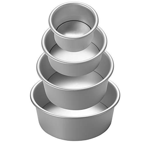 COMLIFE 2/4/6/8 pulgadas Moldes para Pastel Aros Redondo de Aluminio Anodizado Profundidad Fondo Desmontable Multi-Size con 3...