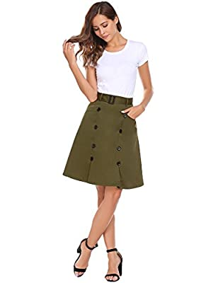 Chigant Women's High Waisted Office Wear Midi Skirt Pleated A Line Skirt with Pocket and Button