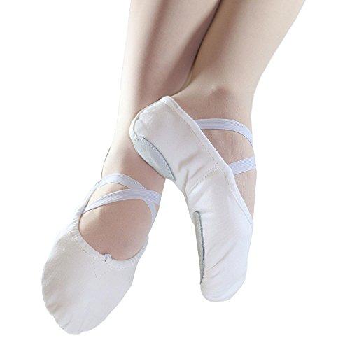 Danzcue Adult Split Sole Canvas White Ballet Slipper 9 M US (White Adult)