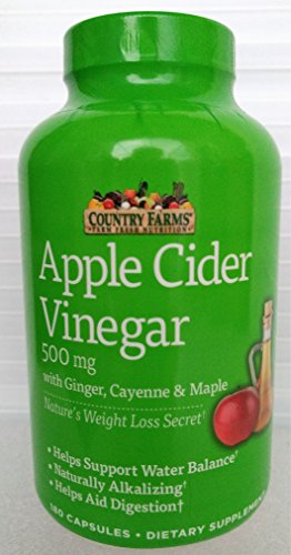 Country Farms Apple Cider Vinegar 500mg 180 capsules with Ginger, Cayenne and Maple by Country Farms