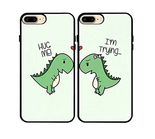 iPhone 7 Plus/iPhone 8 Plus Case,Cartoon Cute Little Dinosaur Couple Lovers Best Friends Forever Rubber Phone Cover Case for iPhone 7 Plus/iPhone 8 Plus 5.5 inch