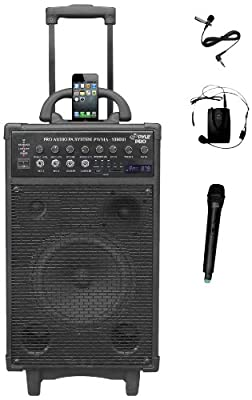 PYLE-PRO PWMA1090UI 800 Watt Wireless Rechargeable Portable PA System with iPhone/iPod Dock, FM/USB/SD, Handheld and Lavalier Mics by Sound Around