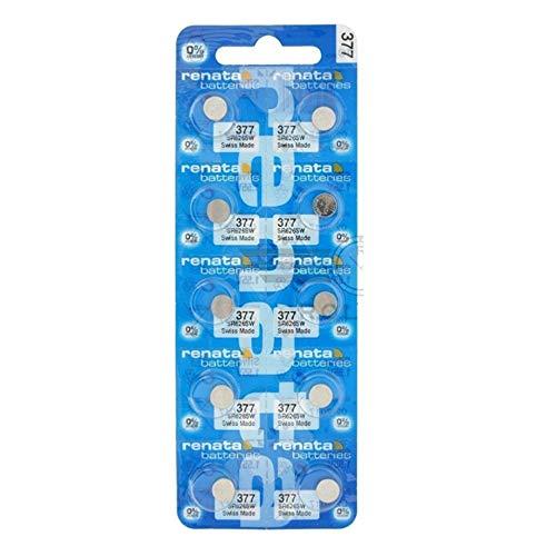 10 Pack 377 Renata Silver Oxide 0% Mercury Electronic Batteries SR626SW (377 Renata Battery Watch)