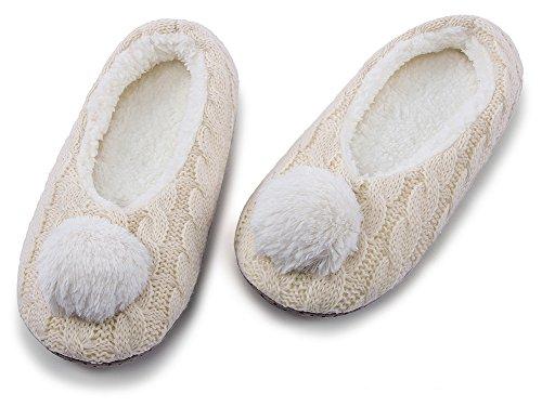 Indoor Animal Ladies Knit Slippers Womens Beige3 Slippers Christmas House MaaMgic Fuzzy Bedroom Winter Cute UtwqzY