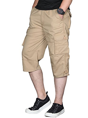 - EKLENTSON Mens Long Shorts Relaxed Fit Multi-Pocket Urban Long Capri Shorts Cargo Pant Khaki