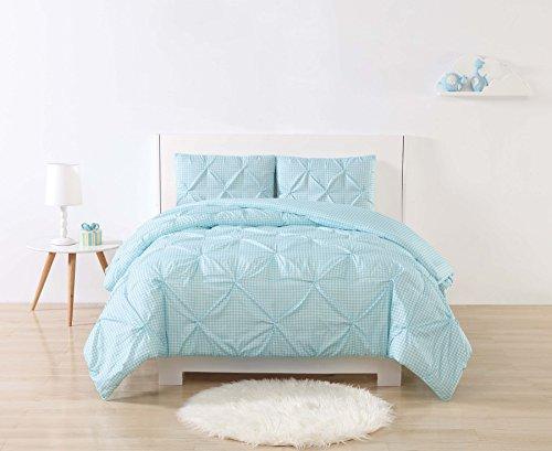 Laura Hart Kids Printed Gingham Pinch Pleat Comforter Set, Twin X-Large, White/Aqua by Laura Hart Kids