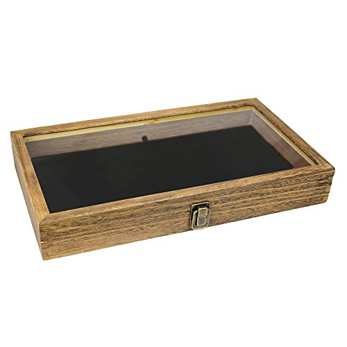 Brown Color Wood Jewelry / Bead Storage Box in TEMPERED Glass Top Lid With Velvet Black Pad Display Box Case Medals Awards Jewelry Knife (Brown Wood Bead)