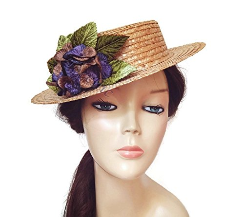Boater hat with blue flower 4a32aec736f