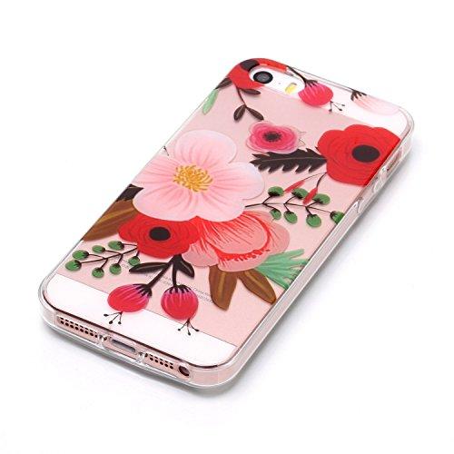 Custodia iPhone 5 5S SE , LH Pittura Ad Olio Fiore TPU Trasparente Silicone Cristallo Morbido Case Cover Custodie per Apple iPhone 5 5S SE