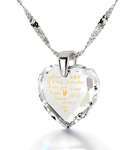925 Silver I Love You Necklace 12 Languages Gold Inscribed Clear CZ - Crystal Earring Heart Jewelry Set by Nano Jewelry (Image #1)