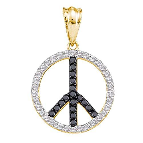 The Diamond Deal 14kt Yellow Gold Womens Round Black Color Enhanced Diamond Peace Sign Circle Pendant 3/4 Cttw
