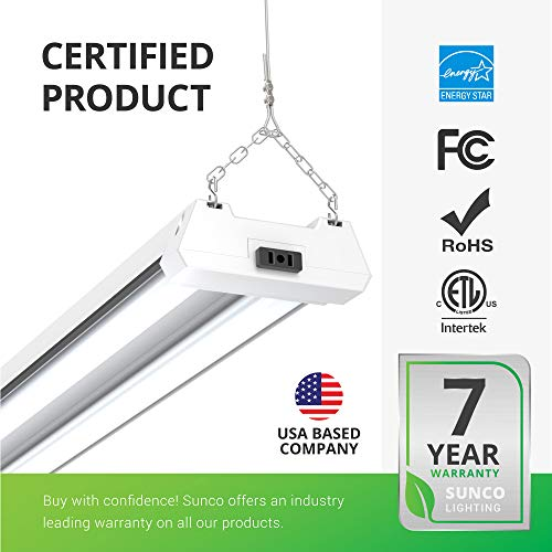 """3000K SUNCO 4 PACK FROSTED SHOP LIGHT UTILITY 48/"""" LED 40W WARM WHITE 260W"""