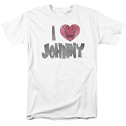 Trevco Men's Johnny Bravo Short Sleeve T-Shirt, Heart White, XX-Large - Brave Short Sleeve Tee