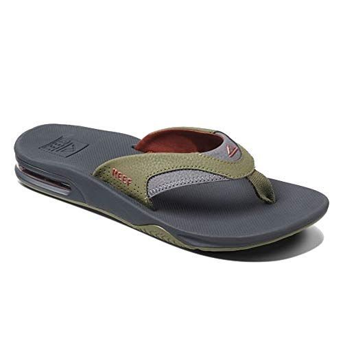 Reef Sandals Fanning  Bottle Opener Flip Flops for Men, Olive/Rust, 11 M US