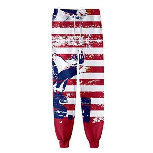 Womens American Flag Pants Men Women 3D Casual Active Sports Joggers Pants Trousers Sweatpants Casual Loose Drawstring Sweatpants July ()