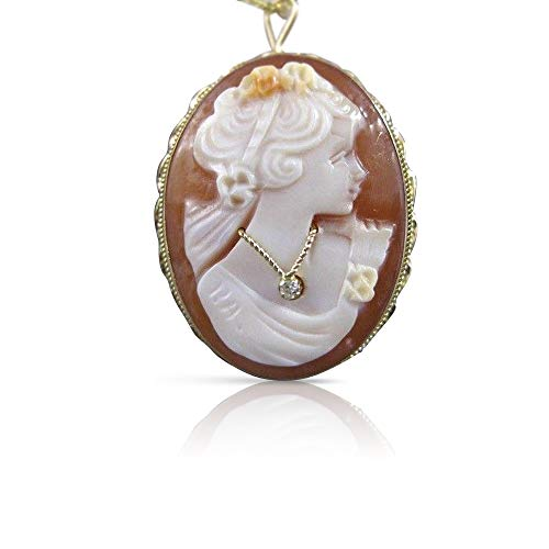 Yellow Gold Cameo Pin - Milano Jewelers HABILLE Euro Diamond 14K Yellow Gold Shell Cameo PIN Pedant Italy #20632