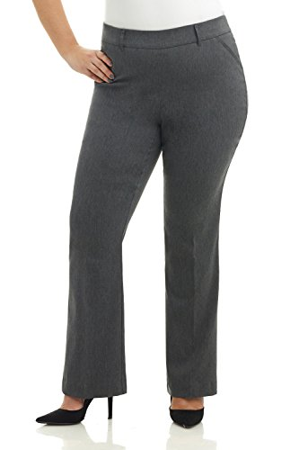 Rekucci Curvy Woman Ease in to Comfort Fit Barely Bootcut Plus Size Pant (16WSHORT,Charcoal)