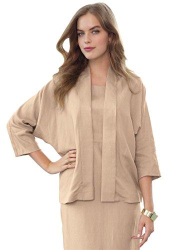 Jessica London Women's Plus Size Linen Jacket – 12, New Khaki