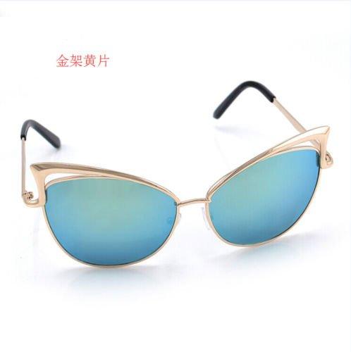 XENO-Women's Gold Retro Cat Eye Sunglasses Classic Designer Vintage Fashion - Sunglasses Cartier Gold
