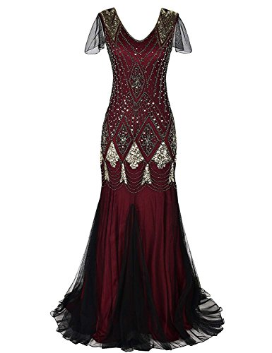 Gold Burgundy Halo Women 1920s Long Prom Gown Flapper Cocktail Mermaid Beaded Sequin Art Deco Formal Evening Dress with Sleeve Gold Burgundy XL