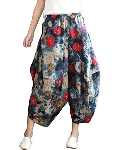 Zhhlinyuan Unisexe Harem Pantalon Lanterne Baggy en Vrac Pantalon - Coton Lin Taille Elastique t Confortable Trouser Bleu Rouge